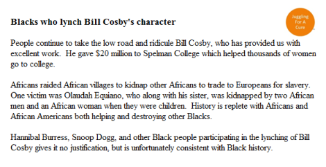 Blacks who lynch Cosby's character